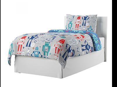 3d現代機器人被套兒童床模型