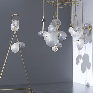 3d北欧金属吊灯模型