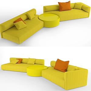 3d簡歐休閑黃色多人沙發模型