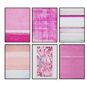 3d现代粉色系抽象挂画模型