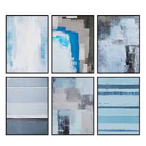 3d现代水彩画抽象蓝色系模型