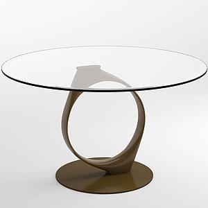 現代設計感藝術玻璃桌茶幾模型