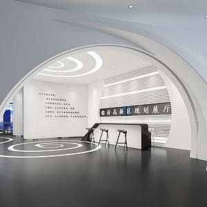 展廳形象墻大廳模型