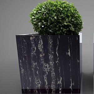 现代装饰架花盆摆件模型
