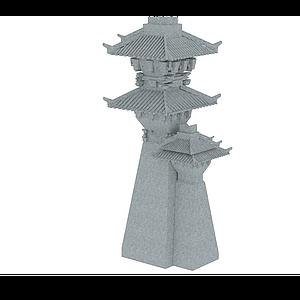 3d軒轅故里大門塔模型