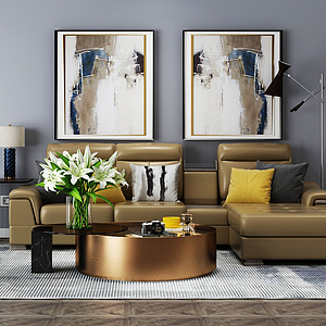3d现代客厅模型