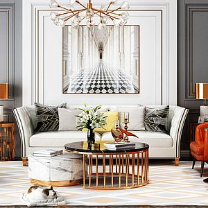 3d现代轻奢客厅模型