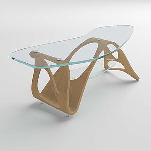 現代玻璃茶幾不規則桌腳模型