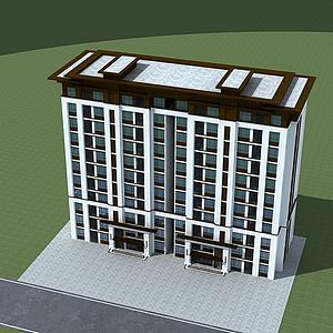 3d多層洋房模型