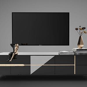 电视柜电视背景墙模型