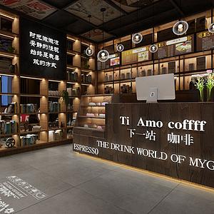 3d現代工業咖啡奶茶廳模型