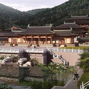 3d古建寺廟模型