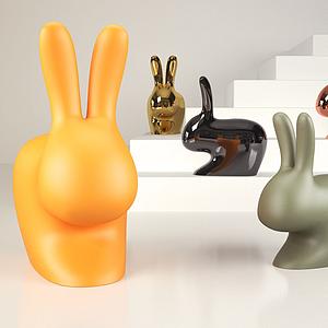 3d兔子装饰品模型