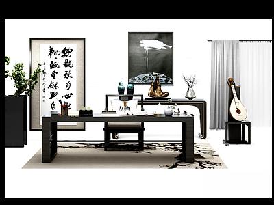 3d新中式<font class='myIsRed'>書</font>桌椅模型