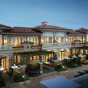 西班牙風格商業酒店模型