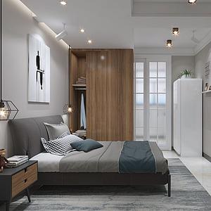 3d单间卧室模型