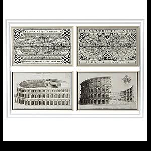 3d美式復古建筑裝飾畫模型