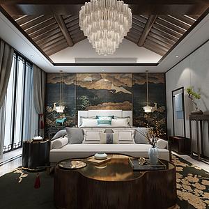 中式臥室模型