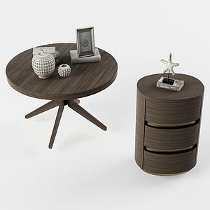 現代實木小茶幾圓邊柜模型