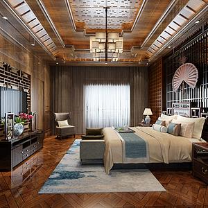 3d中式卧室模型