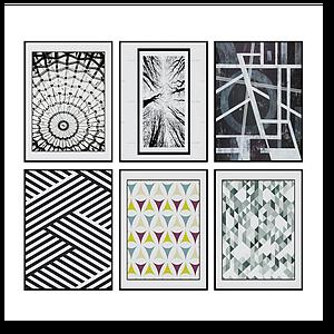 3d現代幾何圖案掛畫裝飾畫模型