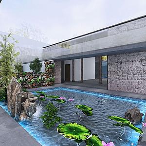 民宿前臺公共區域模型