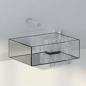 現代衛浴玻璃洗手臺水龍頭模型
