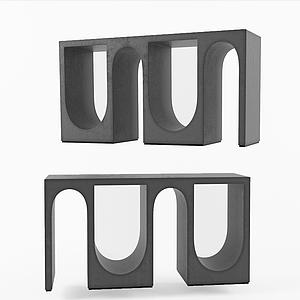 現代不規則咖啡桌邊桌模型