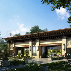 新中式小區大門模型