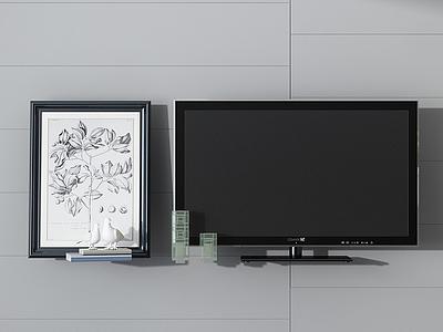 電視機掛畫墻飾組合3d模型