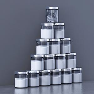 現代廚房用具配料瓶組合模型