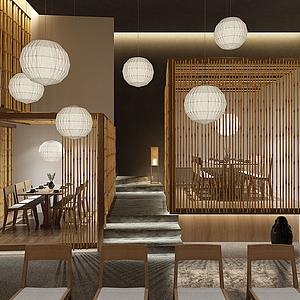 3d日本料理日式餐厅模型