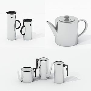 現代不銹鋼茶壺組合模型