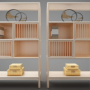 3d新中式陈列柜模型