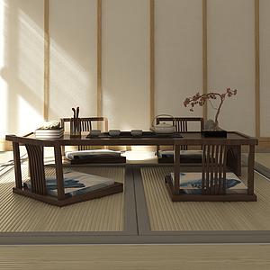 3d日式禅意茶桌椅榻榻米模型