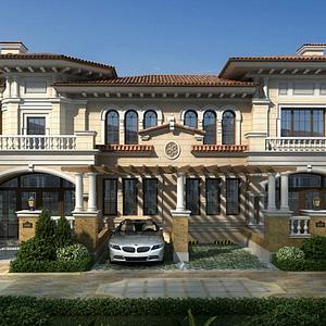 歐式聯排別墅模型