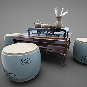 新中式休閑桌邊幾凳模型