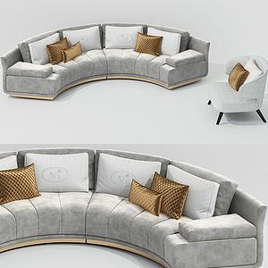 现代弧形多人沙发模型