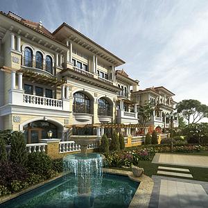 歐式聯排別墅酒店模型