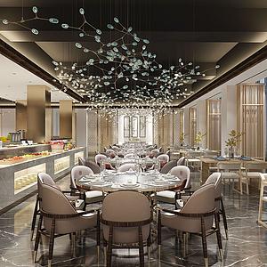 新中式自助餐廳3d模型