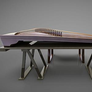3d新中式风格古筝乐器模型