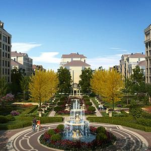 3d現代小區景觀噴泉模型