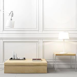 現代簡約沙發凳邊幾模型