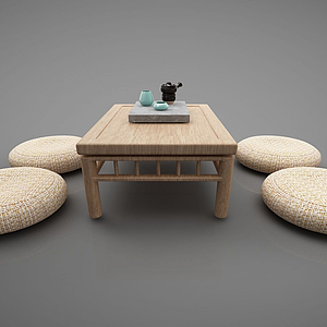 新中式茶幾坐墊榻榻米模型