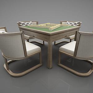 新中式麻將桌娛樂桌模型