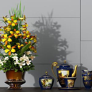 3d美式茶具<font class='myIsRed'>花盆</font>花艺模型