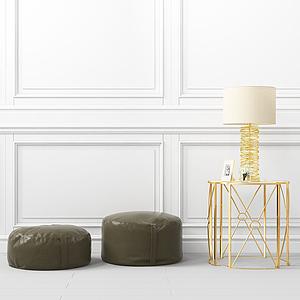 現代沙發凳邊幾模型