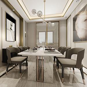 3d现代简约餐厅模型