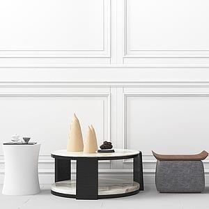 現代簡約邊幾凳模型