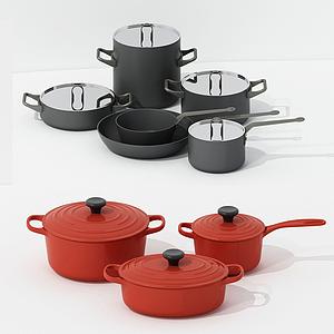 现代厨房高品质锅锅组合模型